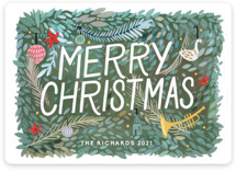 This is a green non photo holiday card by Morgan Ramberg called Christmas Past with standard printing on signature in standard.
