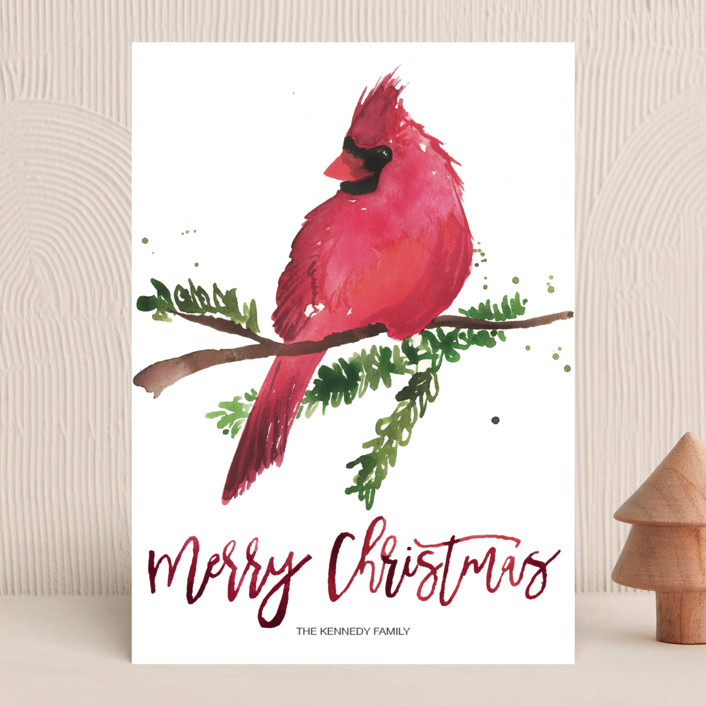 """Christmas Cardinal"" - Holiday Cards in Berry by Kelsey McNatt."