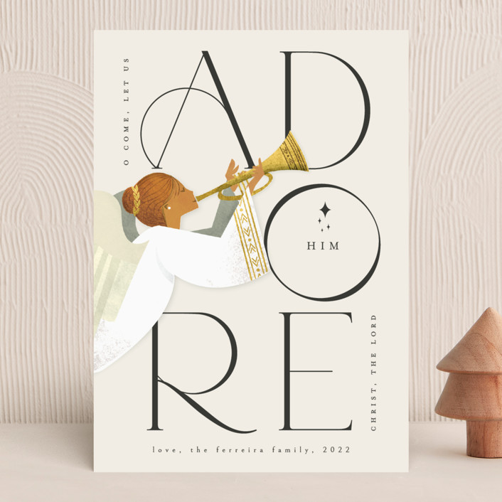 """Adore Him"" - Bohemian Holiday Cards in Snow by Ana de Sousa."