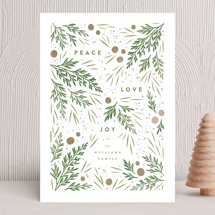 """""""Moody Flatlay"""" - Holiday Cards in Snow by Robert and Stella."""
