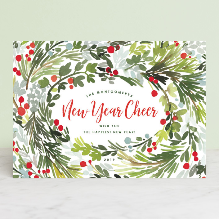 """""""Merry Holiday Wreath"""" - Holiday Cards in Holiday by Yao Cheng Design."""