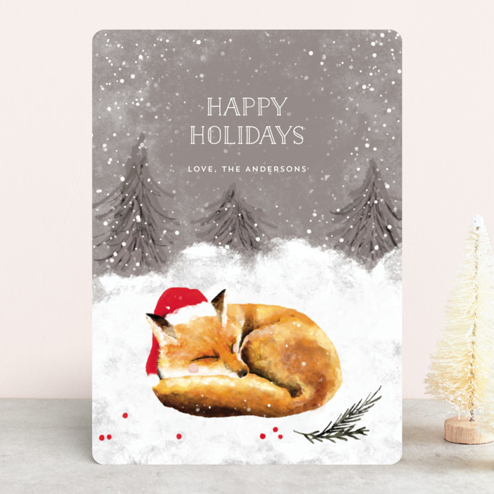 """Sleeping Fox"" - Bohemian Holiday Cards in Cashmere by Cass Loh."