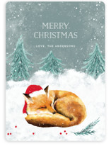 This is a green non photo holiday card by Cass Loh called Sleeping Fox with standard printing on signature in standard.