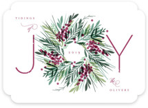 This is a purple non photo holiday card by Kristie Kern called Gathered with standard printing on signature in standard.