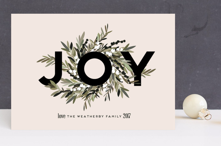 """Joyous Wreath"" - Holiday Cards in Blush by Leah Bisch."