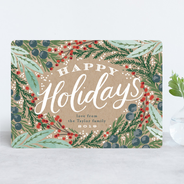 """""""Holiday Wreath"""" - Vintage Holiday Cards in Kraft by Alethea and Ruth."""