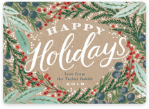 This is a brown non photo holiday card by Alethea and Ruth called Holiday Wreath with standard printing on signature in standard.