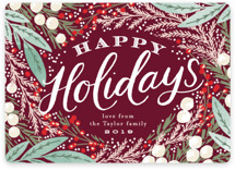 This is a red non photo holiday card by Alethea and Ruth called Holiday Wreath with standard printing on signature in standard.