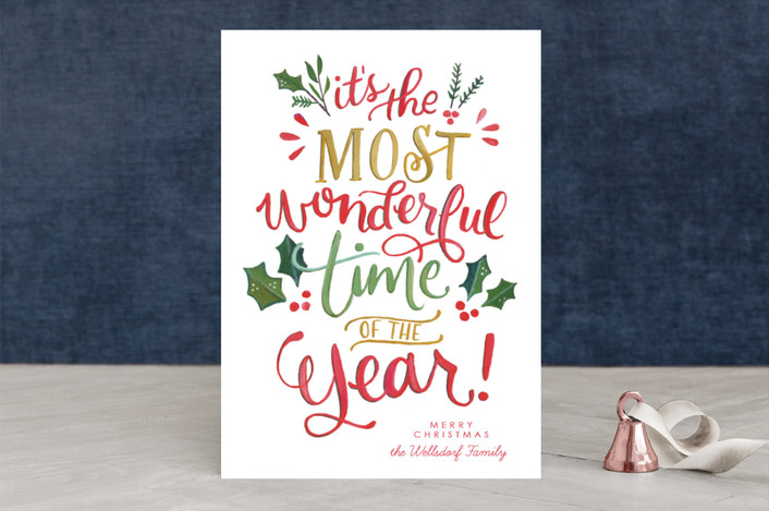 """Most Wonderful Everything"" - Holiday Cards in Traditionally Festive by Makewells."