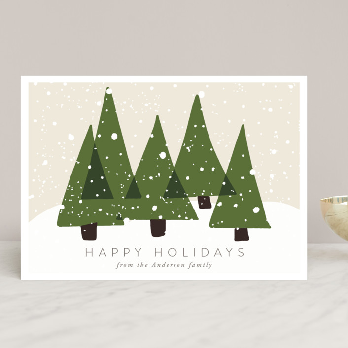 """""""Christmas Trees"""" - Bohemian Holiday Cards in Olive by Roopali."""