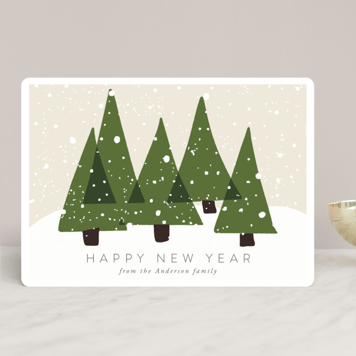 """Christmas Trees"" - Holiday Cards in Olive by Roopali."