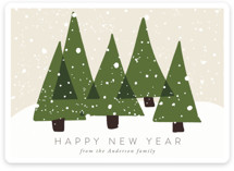 This is a green non photo holiday card by Roopali called Christmas Trees with standard printing on signature in standard.
