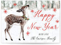 This is a red non photo holiday card by Cass Loh called Holiday Deer with standard printing on signature in standard.
