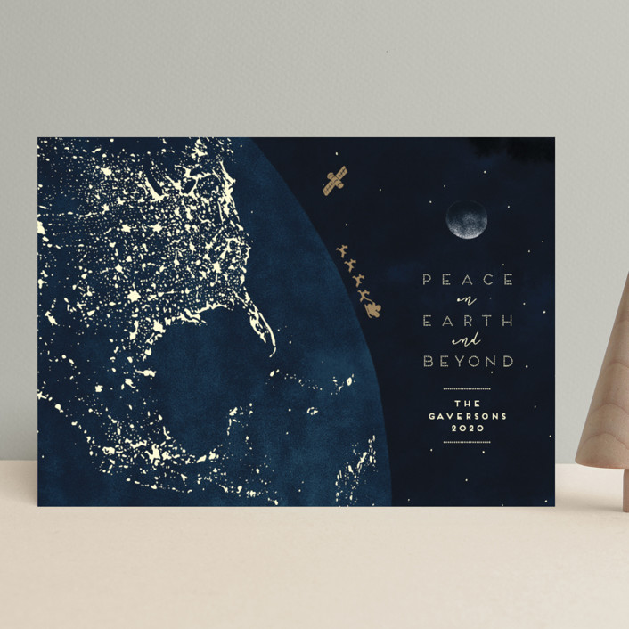 """And Beyond"" - Holiday Cards in Midnight by Gwen Bedat."