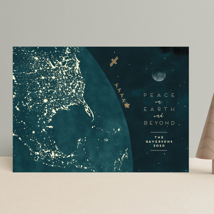 """""""And Beyond"""" - Bohemian Holiday Cards in Cerulean by Gwen Bedat."""