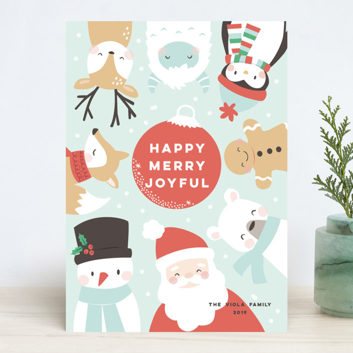 """happy merry joy"" - Holiday Cards in Winter Sky by peetie design."