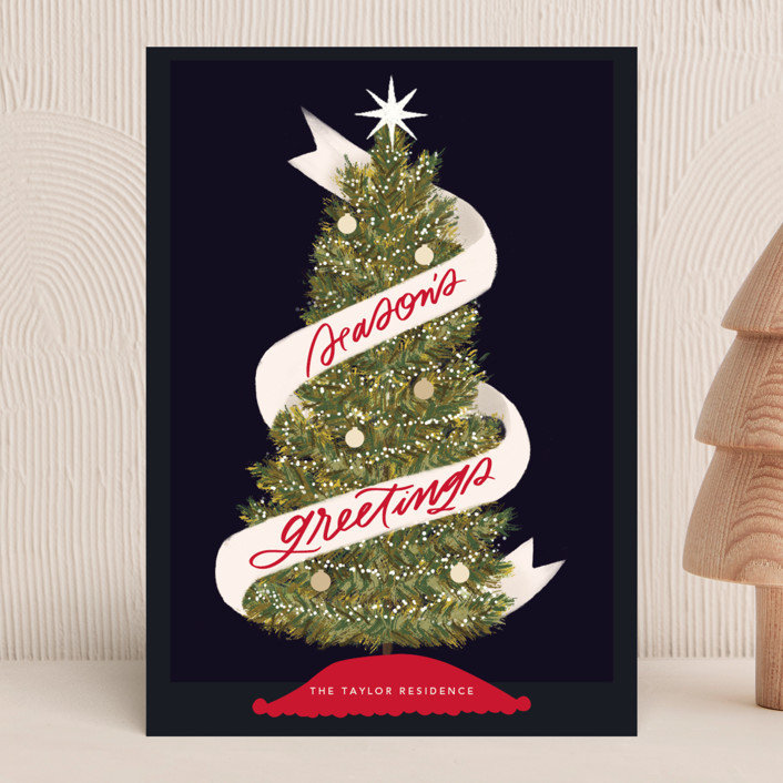 """Seasonal Ribbon"" - Holiday Cards in Night by Marabou Design."
