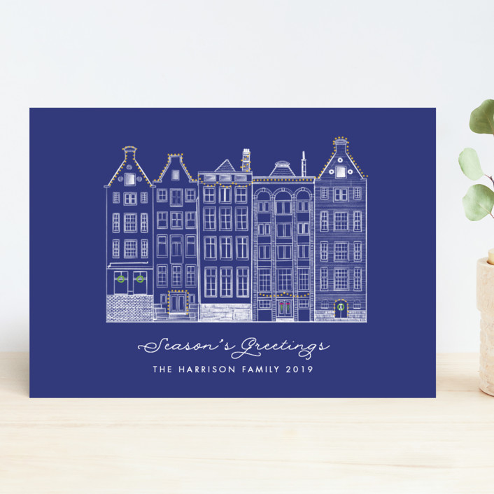 """""""Amsterdam Row Houses"""" - Vintage Holiday Cards in Navy by Becky Nimoy."""
