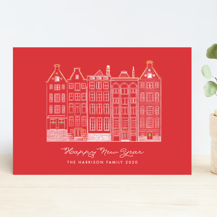 """""""Amsterdam Row Houses"""" - Vintage Holiday Cards in Berry by Becky Nimoy."""