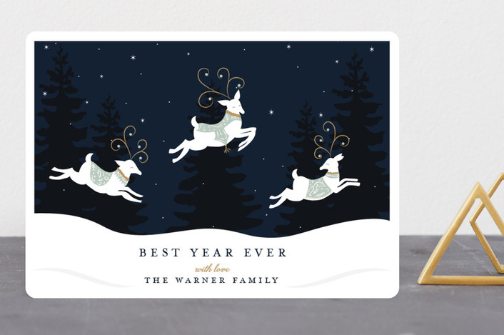 """Reindeer Games"" - Holiday Cards in Winter Mint by Susan Moyal."