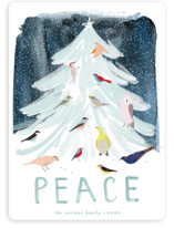 This is a blue non photo holiday card by Eve Schultz called Snowfall with standard printing on signature in standard.
