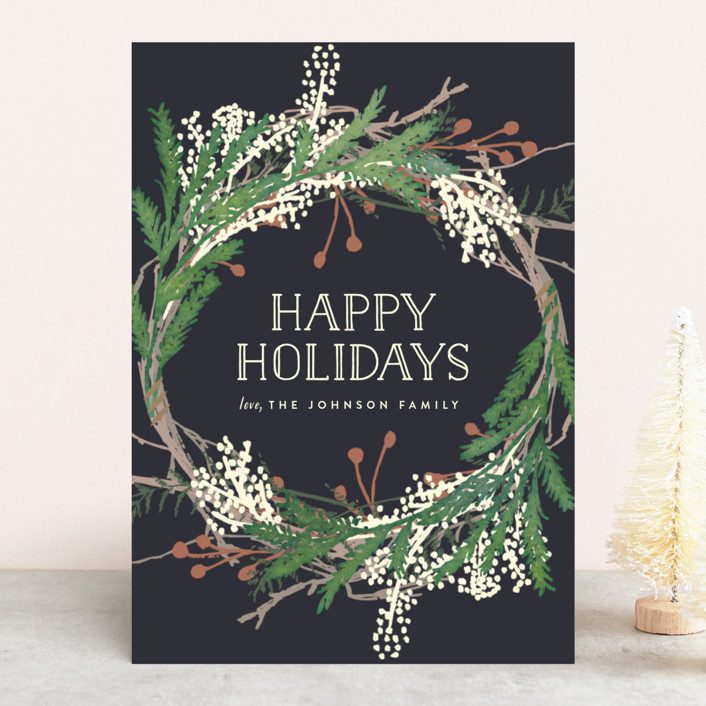 """""""Pine Circle"""" - Holiday Cards in Moss by Leah Bisch."""