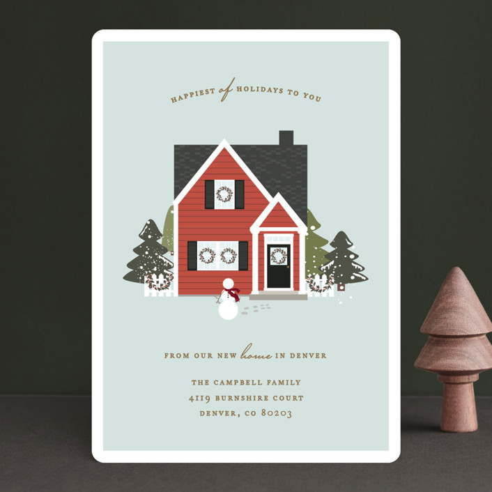 """The Little Christmas House"" - Holiday Cards in Candied Apple by Jennifer Postorino."