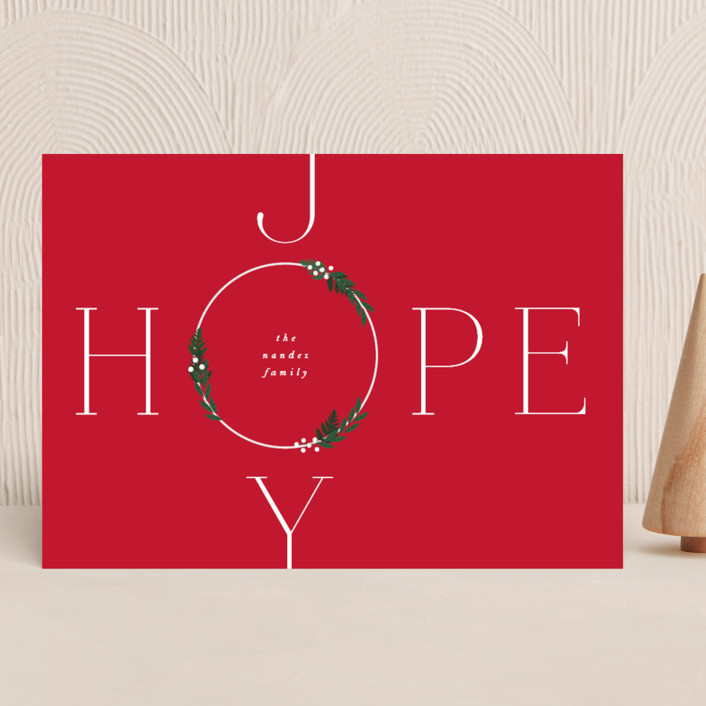 """""""Hope & Joy"""" - Holiday Cards in Holly Berry by Corinne Malesic."""