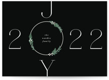This is a black non photo holiday card by Corinne Malesic called Hope & Joy with standard printing on signature in standard.