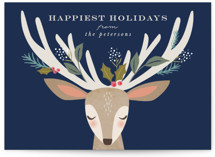 This is a blue non photo holiday card by Karidy Walker called holiday reindeer with standard printing on signature in standard.