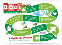 This is a green non photo holiday card by Betta called Year: The Board Game with standard printing on signature in standard.
