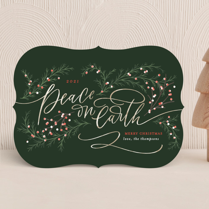 """""""Peace on Earth"""" - Holiday Cards in Evergreen by Erin German."""