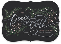 This is a black non photo holiday card by Erin German called Peace on Earth with standard printing on signature in standard.