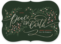 This is a green non photo holiday card by Erin German called Peace on Earth with standard printing on signature in standard.