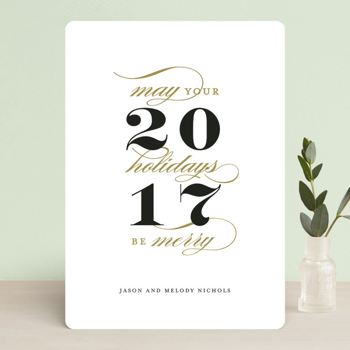 """""""Grand New Year"""" - Holiday Cards in Brass by Kimberly FitzSimons."""