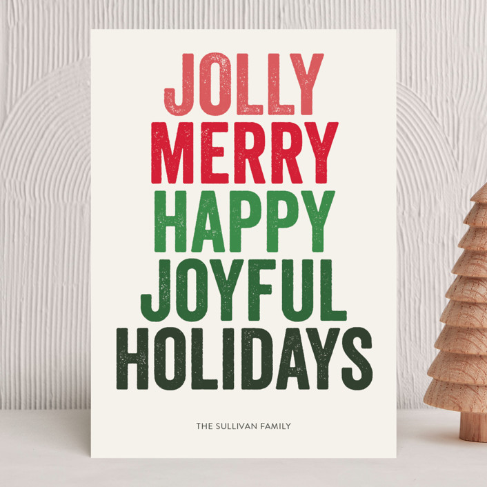 """""""jolly words"""" - Holiday Cards in Wreath by design market."""
