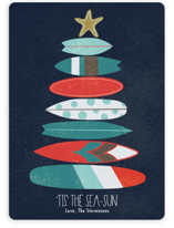 This is a blue non photo holiday card by Alyssa Stevenson called Surfboard Tree with standard printing on signature in standard.