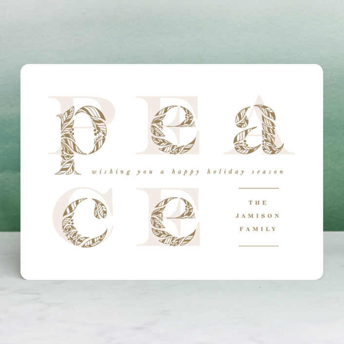"""Inner Peace"" - Modern Holiday Cards in Mustard by Leah Bisch."