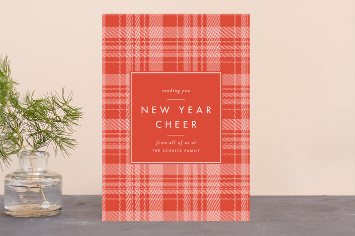 """""""Cheerful Plaid"""" - Vintage Holiday Cards in Spice by Carolyn Nicks."""