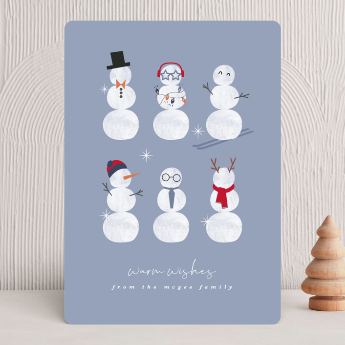 """""""Frosty friends"""" - Funny, Bohemian Holiday Cards in Winter Sky by Corinne Malesic."""