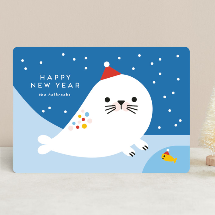 """Rainbow Seal"" - Holiday Cards in Frozen by Genna Blackburn."