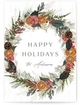 This is a red non photo holiday card by Susan Moyal called Holiday Charm with standard printing on signature in standard.