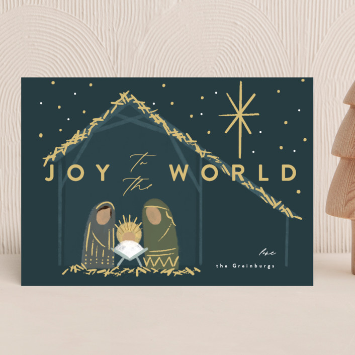 """""""Nativity"""" - Bohemian Holiday Cards in Midnight by Rebecca Durflinger."""