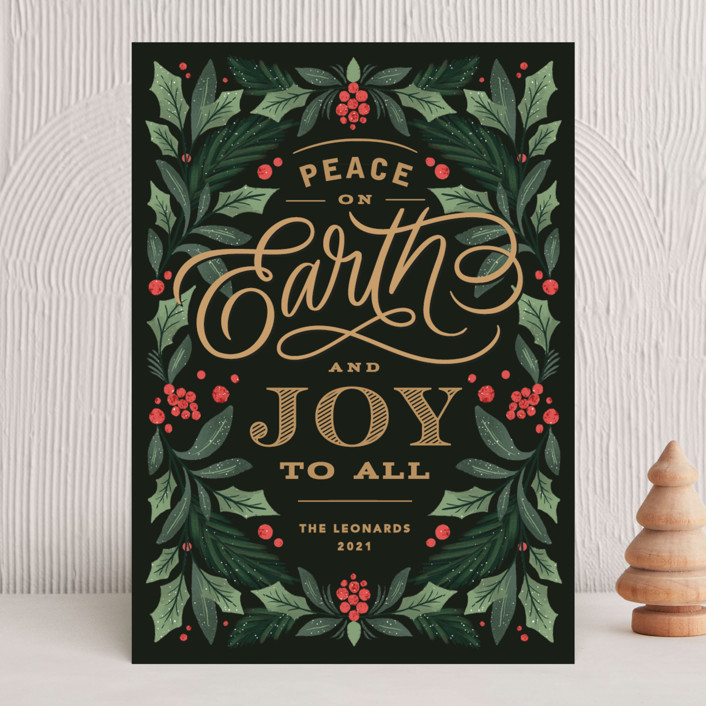 """""""Peace On Earth Florals"""" - Holiday Cards in Evergreen by Kristen Smith."""