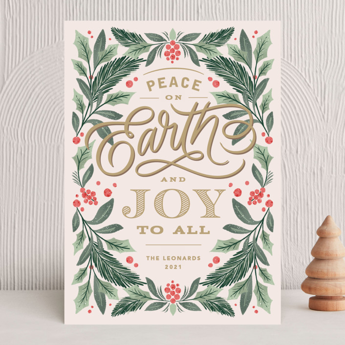 """""""Peace On Earth Florals"""" - Vintage Holiday Cards in Blush by Kristen Smith."""