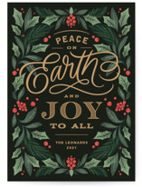 This is a green non photo holiday card by Kristen Smith called Peace On Earth Florals with standard printing on signature in standard.