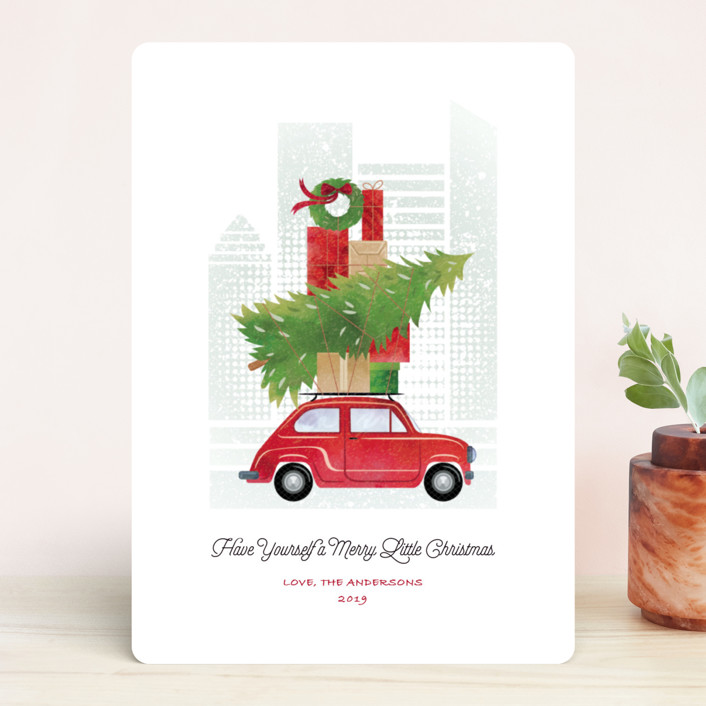 """""""Little Christmas Big City"""" - Holiday Cards in Holly by Paper Sun Studio."""