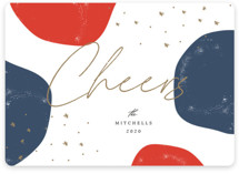 This is a blue non photo holiday card by Summer Winkelman called organic cheers with standard printing on signature in standard.