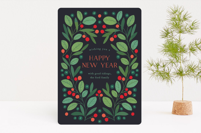 """""""Peaceful Laurel Leaf"""" - Holiday Cards in Navy by Paper Raven Co.."""
