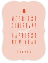 This is a pink non photo holiday card by Ashlee Townsend called Merriest and Happiest with standard printing on signature in standard.